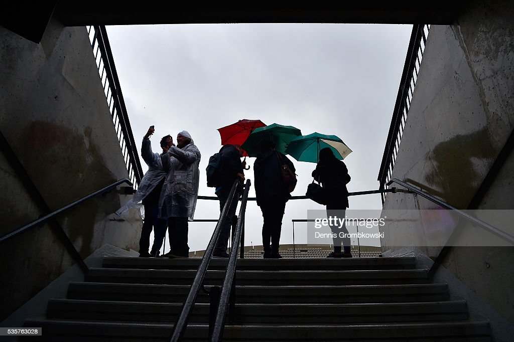 Prolonged heavy rain prevents play from starting on day nine of the 2016 at Roland Garros on May 30, 2016 in Paris, France.