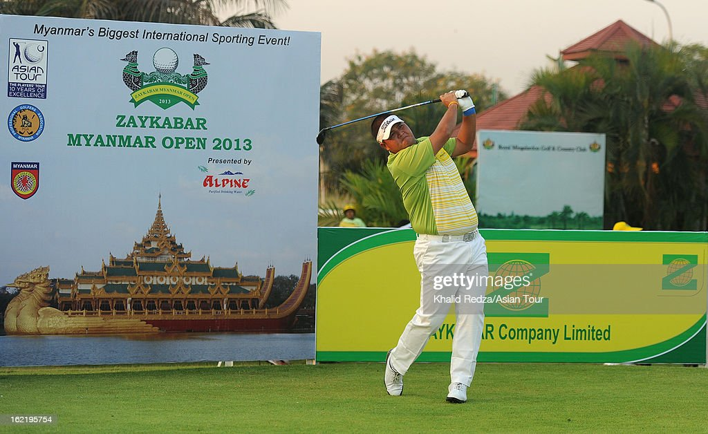 Prom Meesawat of Thailand in action during previews ahead of the Zaykabar Myanmar Open at the Royal Mingalardon Golf and Country Club on February 20, 2013 in Yangon, Burma.