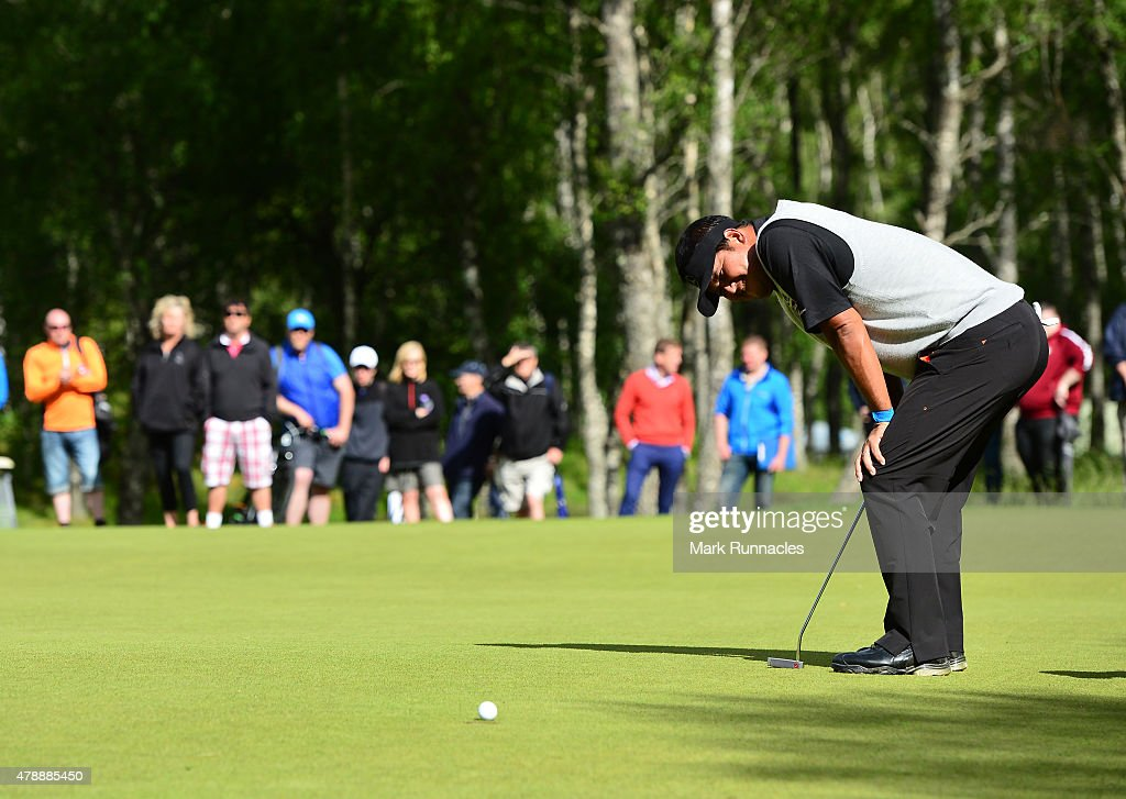 <a gi-track='captionPersonalityLinkClicked' href=/galleries/search?phrase=Prom+Meesawat&family=editorial&specificpeople=647876 ng-click='$event.stopPropagation()'>Prom Meesawat</a> of Thailand reacts after missing a putt on the 17th hole during the fourth round of the 2015 SSE Scottish Hydro Challenge at the MacDonald Spey Valley Championship Golf Course on June 28, 2015 in Aviemore, Scotland.