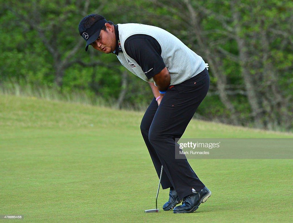 <a gi-track='captionPersonalityLinkClicked' href=/galleries/search?phrase=Prom+Meesawat&family=editorial&specificpeople=647876 ng-click='$event.stopPropagation()'>Prom Meesawat</a> of Thailand reacts after missing a putt on the 3rd play off hole during the fourth round of the 2015 SSE Scottish Hydro Challenge at the MacDonald Spey Valley Championship Golf Course on June 28, 2015 in Aviemore, Scotland.