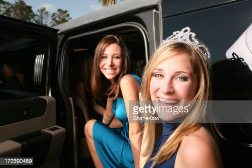 Prom Queen and Best Friend in limo