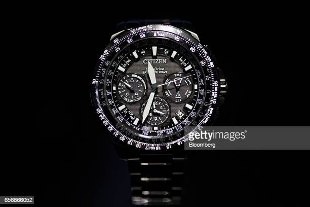 A Promaster Navihawk model wristwatch produced by Citizen Watch Co Ltd stands on display during the 2017 Baselworld luxury watch and jewelry fair in...