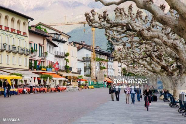 Promenade along Lago Maggiore waterfront in Ascona, Switzerland