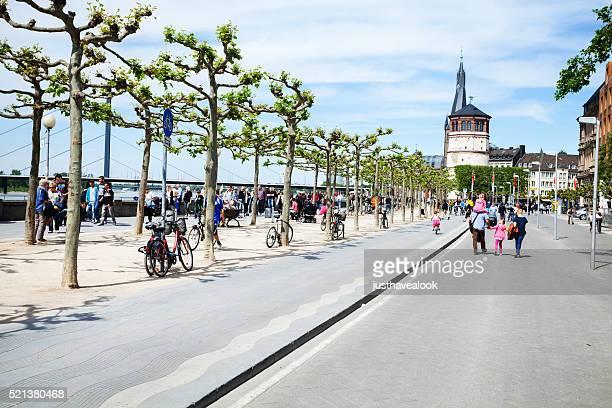 Promenade at Rhine in Düsseldorf in spring