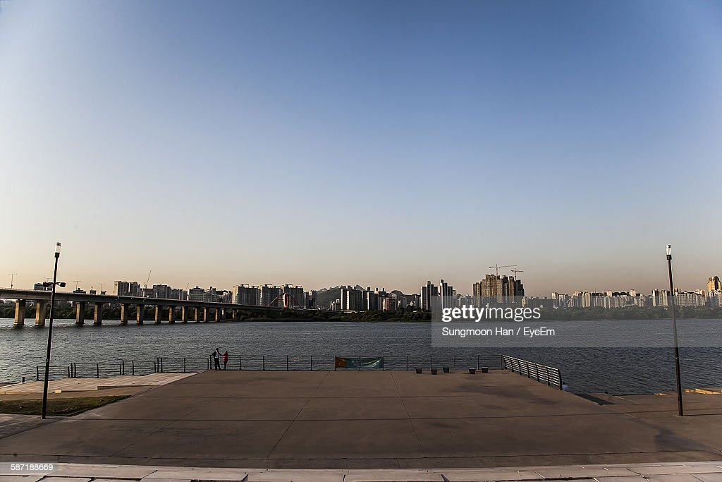 Promenade In Yeouido Hangang Park By Han River Against Clear Sky