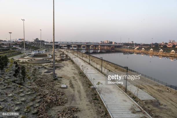 A promenade stands under construction on the banks of the Gomti river in Lucknow Uttar Pradesh India on Tuesday February 14 2017 The success of the...