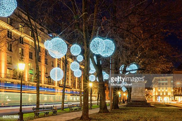 Promenadeplatz in Munich with Xmas decoration