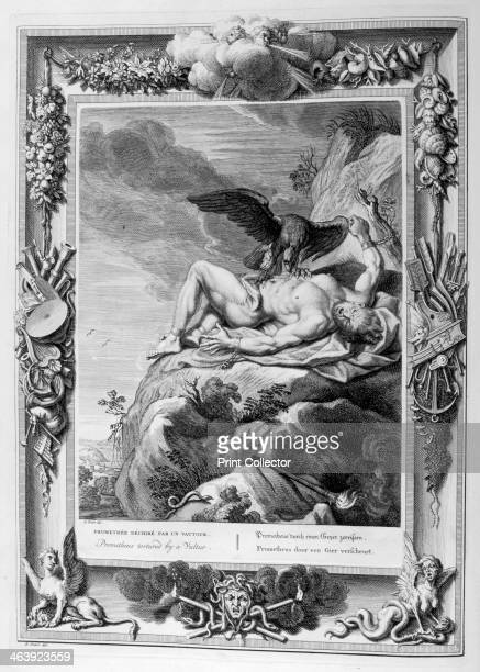 Prometheus tortured by a vulture 1733 A plate from Le Temple des Muses Amsterdam 1733 Found in the collection of Jean Claude Carriere