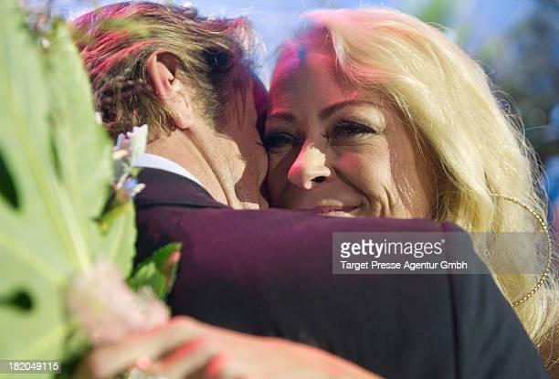 Promi Big Brother winner Jenny ElversElbertzhagen and her boyfriend Steffen von der Beeck celebrate their reunion after the Promi Big Brother finals...