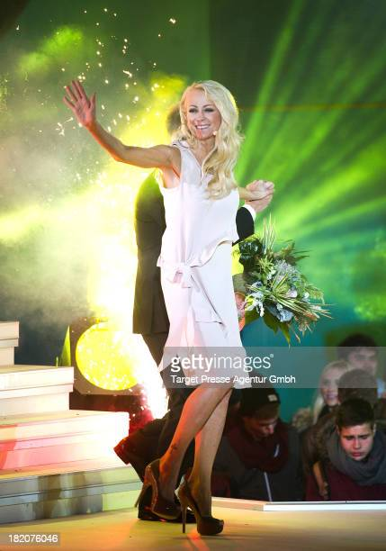 Promi Big Brother winner Jenny ElversElbertzhagen leaves the container together with Oliver Pocher at the Promi Big Brother finals at Studio...