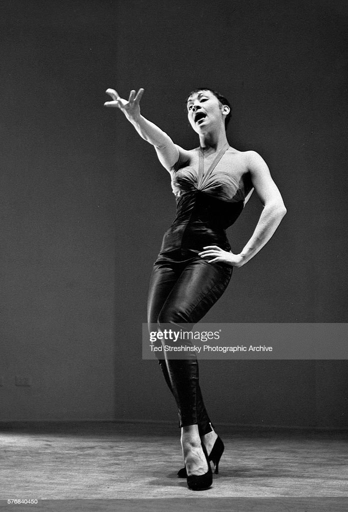 Prominent Broadway and film star Chita Rivera demonstrates her dance routines for a show in New York City