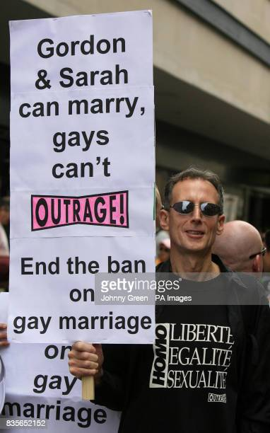 Prominent gay rights campaigner and Pride founder Peter Tatchell joins more than half a million lesbian gay bisexual and transgender marchers and...