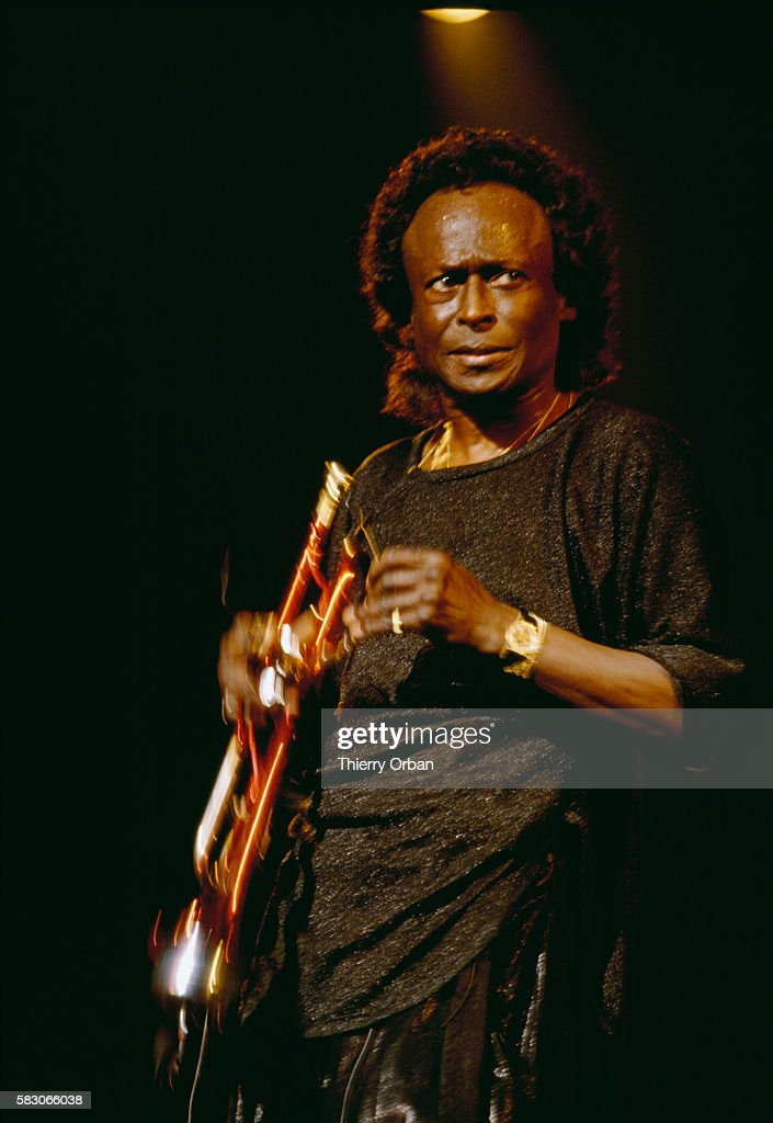 Prominent jazz trumpeter Miles Davis performs at the Zenith Concert Hall in Paris