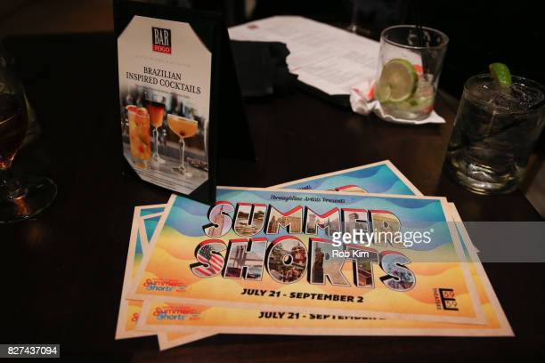 Promo material at the OffBroadway opening night party for 'SUMMER SHORTS 2017' at Fogo de Chao Churrascaria on August 7 2017 in New York City