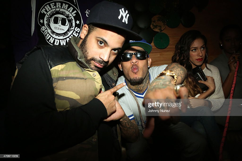 Promoter Adriel Ortiz and rapper Mac Lucci attend the Kid Capri Birthday Celebration & Euro Performance at Greenhouse on February 20, 2014 in New York City.