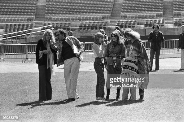 Promoter Bill Graham chats with Stevie Nicks of Fleetwood Mac at The Oakland Coliseum in 1977 in Oakland California