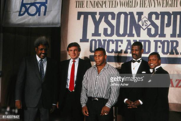Promoter Don King Businessman Donald Trump Boxer 'Iron' Mike Tyson Boxer Michael Spinks with his manager and promoter Butch Lewis at Tyson Spinks...