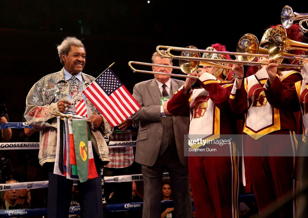 Promoter Don King stands as the USC marching Band plays the national anthem before Bermane Stiverne and Chris Arreola met in their WBC Heavyweight Championship match at Galen Center on May 10, 2014 in Los Angeles, California. Stiverne won in a six round technical knockout.