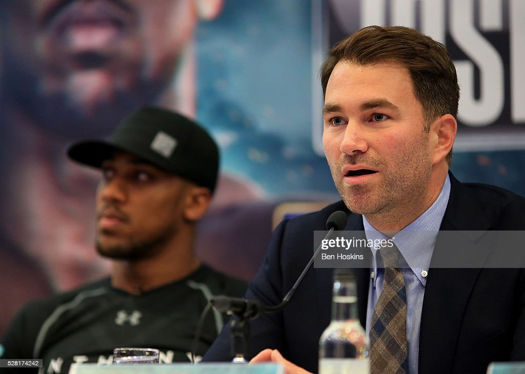 Promoter Eddie Hearn speaks during the Anthony Joshua and Dominic Breazeale Press Conference on May 4, 2016 in London, England.