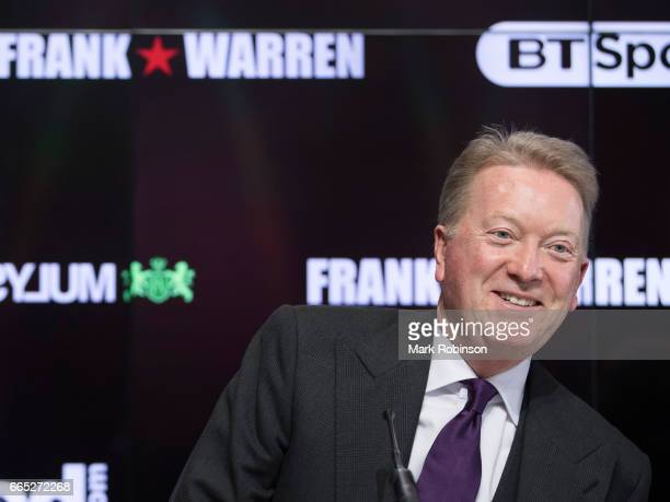 Promoter Frank Warren is seen during a press conference at the Etihad Campus on April 6 2017 in Manchester England