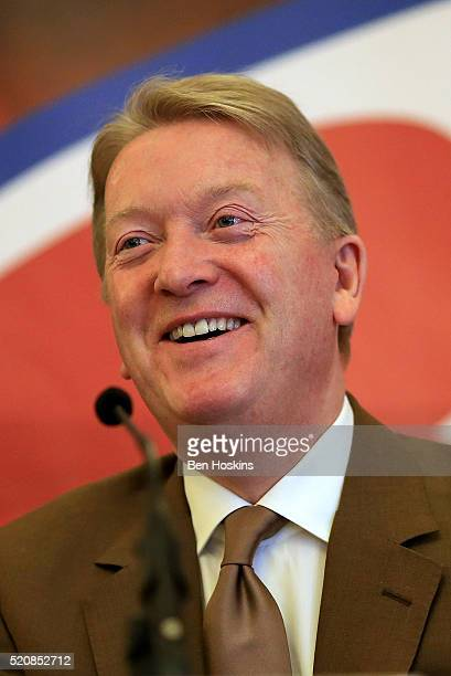 Promoter Frank Warren looks on during a Boxing Press Conference at the Landmark Hotel on April 13 2016 in London England
