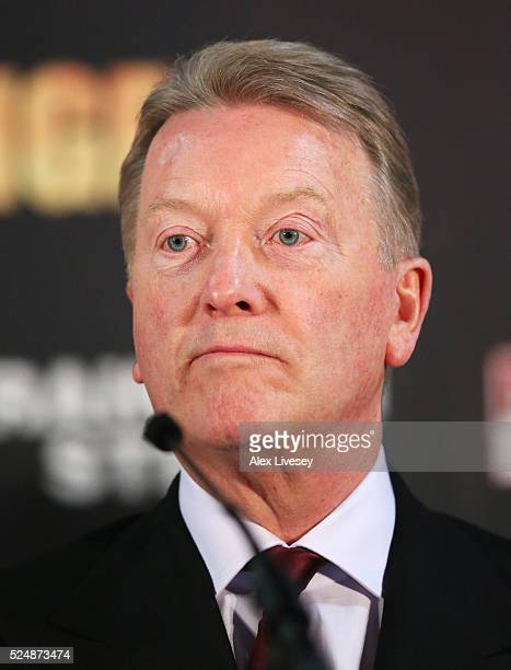 Promoter Frank Warren looks on during Tyson Fury and Wladimir Klitschko head to head press conference at Manchester Arena on April 27 2016 in...