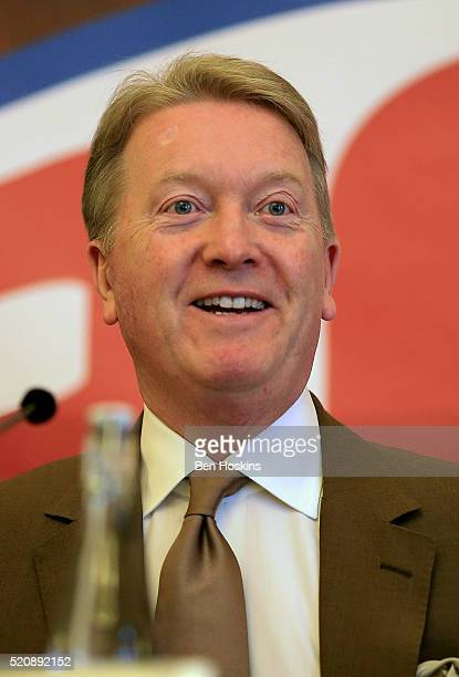 Promoter Frank Warren speaks during a Boxing Press Conference at the Landmark Hotel on April 13 2016 in London England