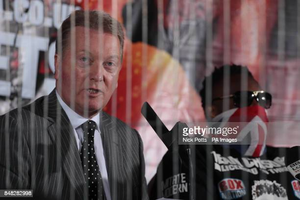 Promoter Frank Warren speaks to the press during the Head to Head at the Gilgamesh Restaurant Bar and Lounge London