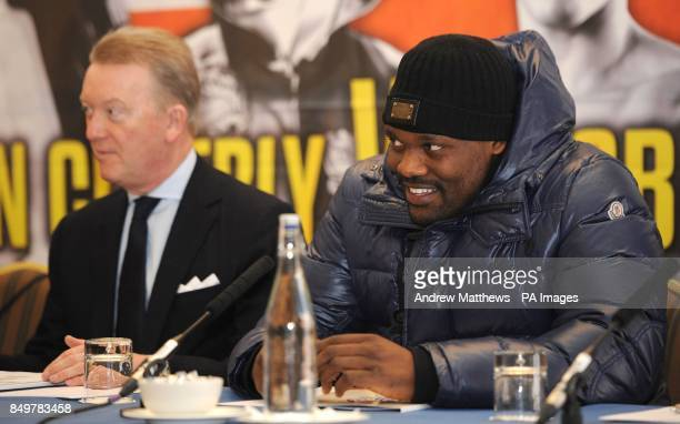 Promoter Frank Warren with boxer Dereck Chisora during the press conference at the Landmark Hotel London