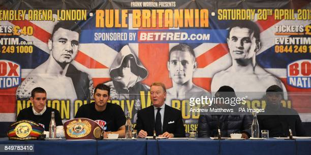 Promoter Frank Warren with boxers WBO World LightHeavyweight Champion Nathan Cleverly Dereck Chisora and Commonwealth SuperFeatherweight Champion...