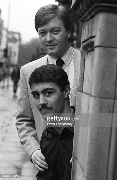 Promoter Frank Warren with British welterweight boxer George Collins after offering him his first professional deal on January 24 1985