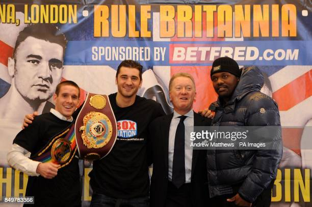 Promoter Frank Warren with WBO World LightHeavyweight Champion Nathan Cleverly Commonwealth SuperFeatherweight Champion Liam Walsh and Dereck Chisora...
