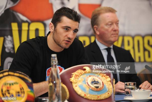 Promoter Frank Warren with WBO World LightHeavyweight Champion Nathan Cleverly during the press conference at the Landmark Hotel London
