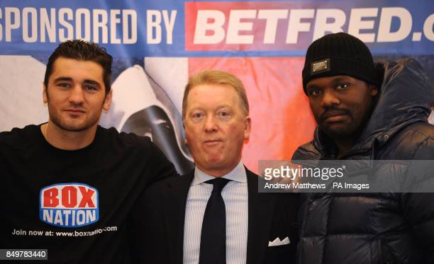 Promoter Frank Warren with WBO World LightHeavyweight Champion Nathan Cleverly and Dereck Chisora during the press conference at the Landmark Hotel...