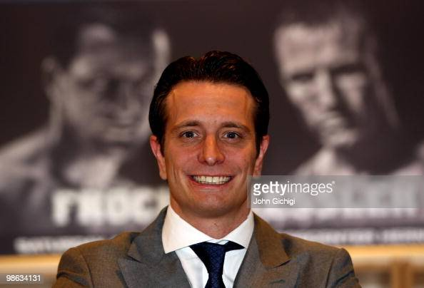Promoter Kalle Sauerland poses during the weigh in for the Super Six fight between Mikkel Kessler and Carl Froch at the Messecenter Arena on April 23...
