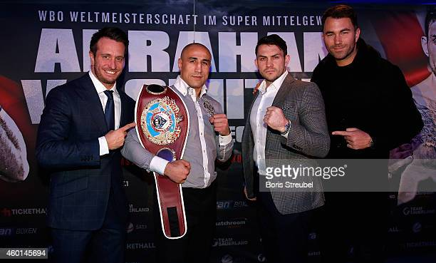 Promoter Kalle Sauerland WBO Super Middleweight World Champion Arthur Abraham of Germany his challenger Paul Smith of England and promotor Eddie...