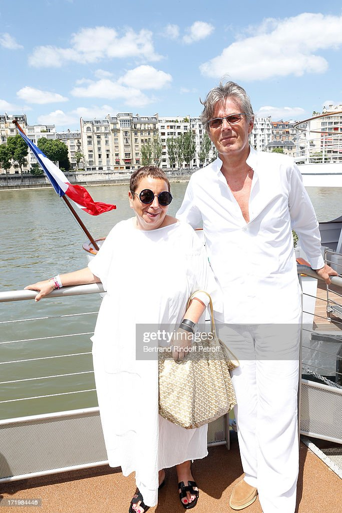 Promoter of the day CEO Barriere Group Dominique Desseigne and owner of 'La Petite Maison De Nicole' Nicole Rubi who made the Buffet attend 'Brunch Blanc' hosted by Groupe Barriere for Sodexho on June 30, 2013 in Paris, France.