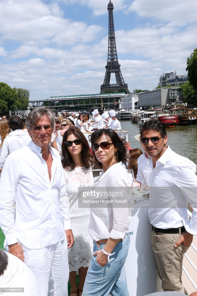Promoter of the day CEO Barriere Group Dominique Desseigne, Cristiana Reali, Mathilda May and Pascal Elbe attend 'Brunch Blanc' hosted by Groupe Barriere for Sodexho on June 30, 2013 in Paris, France.