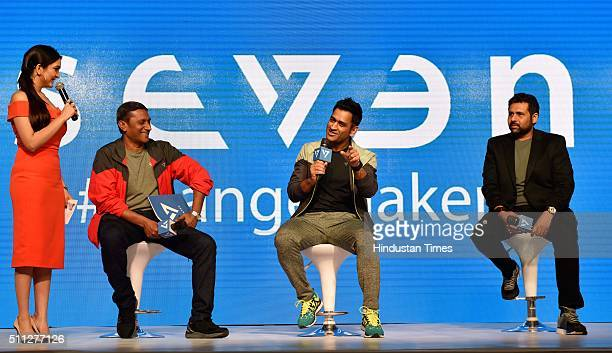 Promoter Rhiti Group Kumar Subramanian Indian Cricket team captain Mahendra Singh Dhoni and CMD and Promoter Rhiti Group Arun Pandey during the...