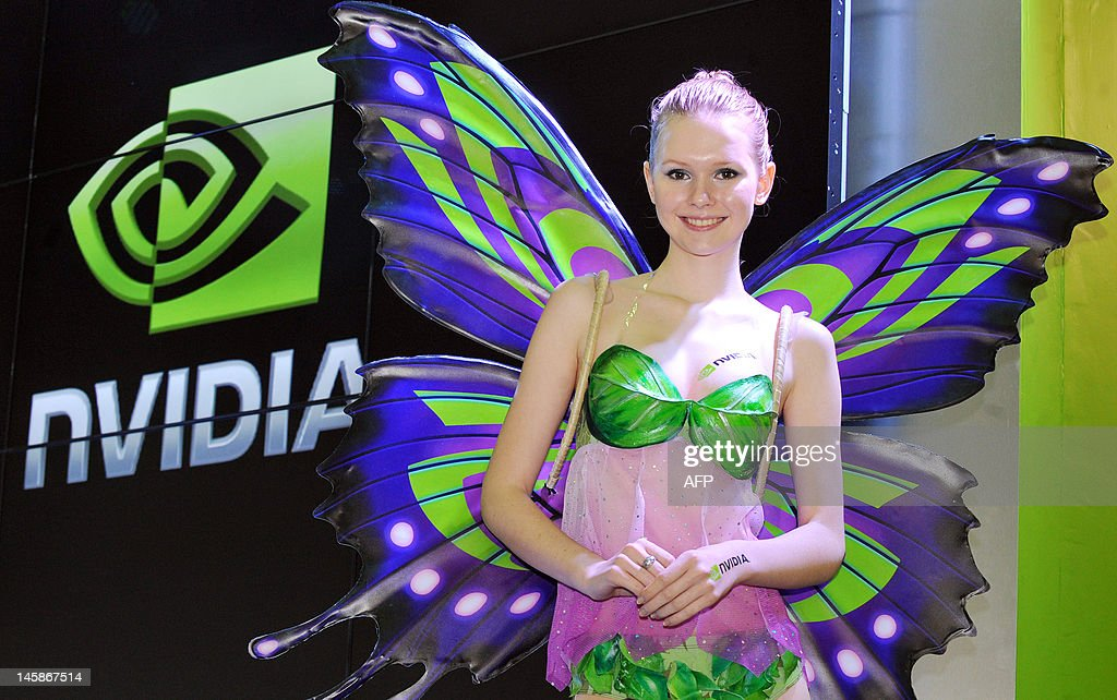 A promoter stands at the NVIDIA booth during the 2012 Computex in Taipei on June 7, 2012. Computex is Asia's leading IT trade fair. AFP PHOTO / Mandy CHENG
