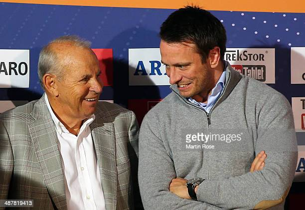 Promoter Wilfried Sauerland of Germany and Kalle Sauerland of Germany look on during the weigh in at Maritim pro Arte Hotel on May 2 2014 in Berlin...
