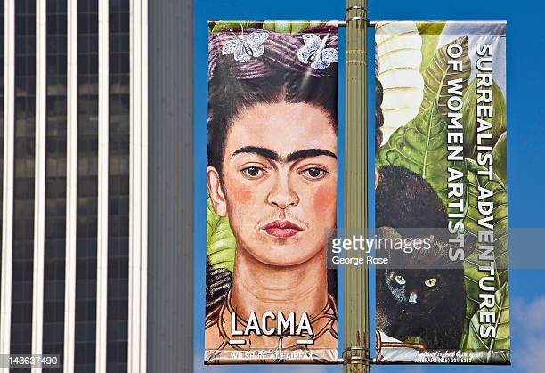 A promotional billboard of Frieda Kahlo exhibit at the Los Angeles County Museum of Art is displayed on April 15 2012 in Los Angeles California...