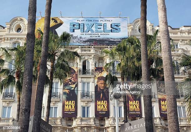 Promotional billboards on the facade of the Carlton Hotel are seen before the 68th international film festival in Cannes France on May 11 2015