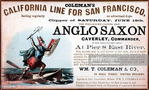A promotional card for the cllipper ship Anglo Saxon sailing for San Francisco and the California gold fields was printed on coated stock by Nesbit...