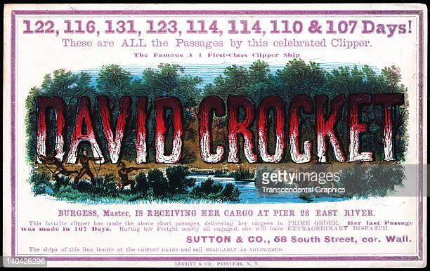 A promotional card for the cllipper ship David Crockett sailing for San Francisco and the California gold fields was printed on coated stock by...