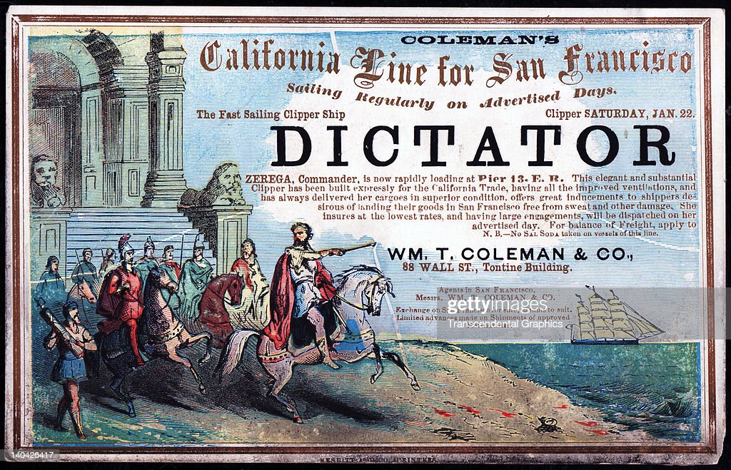 A promotional card for the cllipper ship Dictator sailing for San Francisco and the California gold fields was printed on coated stock by Nesbit...