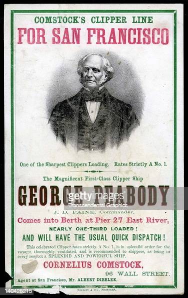 A promotional card for the cllipper ship George Peabody sailing for San Francisco and the California gold fields was printed on coated stock by...