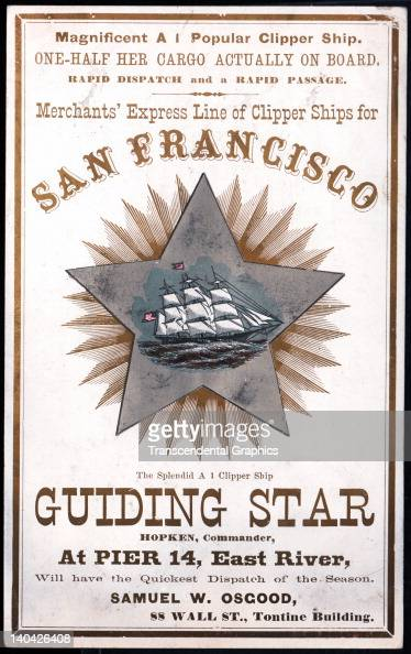 A promotional card for the cllipper ship Guiding Star sailing for San Francisco and the California gold fields was printed on coated stock by Nesbit...