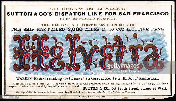 A promotional card for the cllipper ship Helvetia sailing for San Francisco and the California gold fields was printed on coated stock by Nesbit...