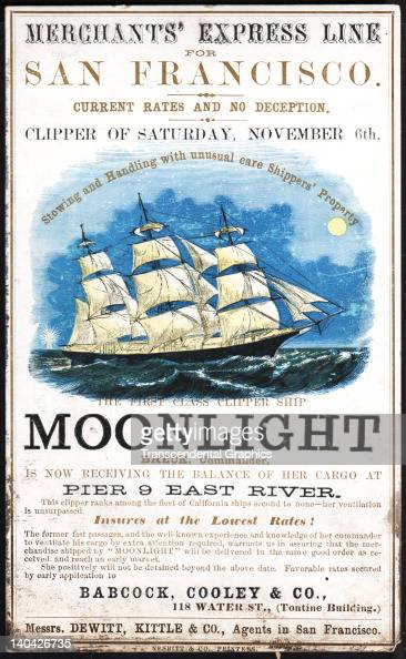 A promotional card for the cllipper ship Moonlight sailing for San Francisco and the California gold fields was printed on coated stock by Nesbit...